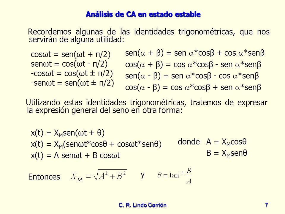 Análisis de CA en estado estable C. R. Lindo Carrión7 cosωt = sen(ωt + π/2) senωt = cos(ωt - π/2) -cosωt = cos(ωt ± π/2) -senωt = sen(ωt ± π/2) Record