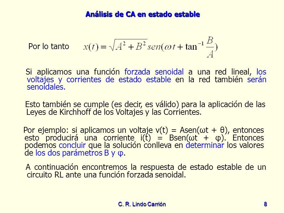 Análisis de CA en estado estable C. R. Lindo Carrión8 Por lo tanto Si aplicamos una función forzada senoidal a una red lineal, los voltajes y corrient