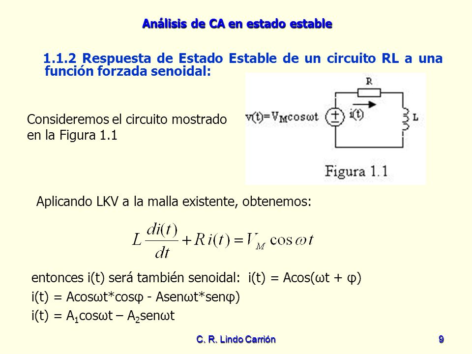 Análisis de CA en estado estable C. R. Lindo Carrión9 1.1.2 Respuesta de Estado Estable de un circuito RL a una función forzada senoidal: Consideremos