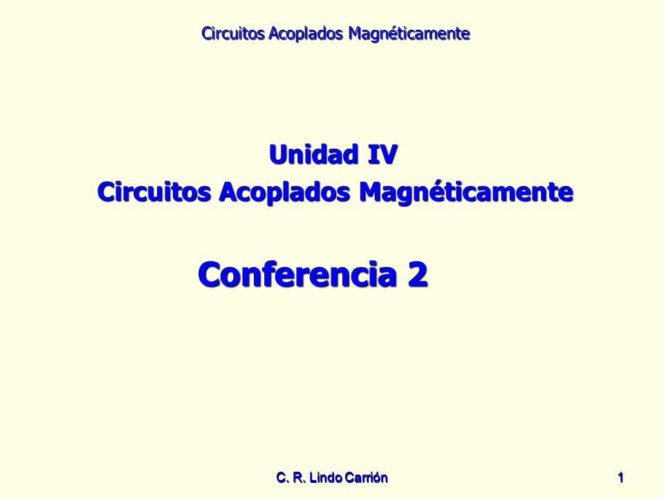 Circuitos Acoplados Magnéticamente C. R. Lindo Carrión11 Unidad IV Circuitos Acoplados Magnéticamente Conferencia 2
