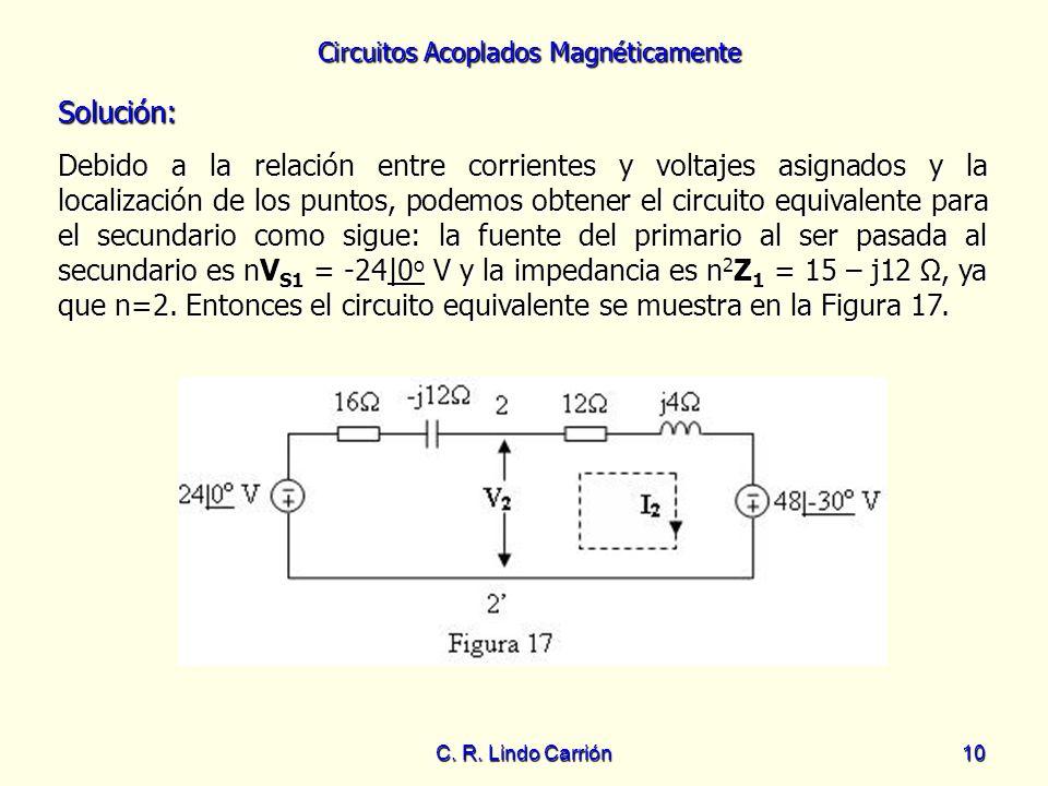 Circuitos Acoplados Magnéticamente C. R. Lindo Carrión10 Solución: Debido a la relación entre corrientes y voltajes asignados y la localización de los
