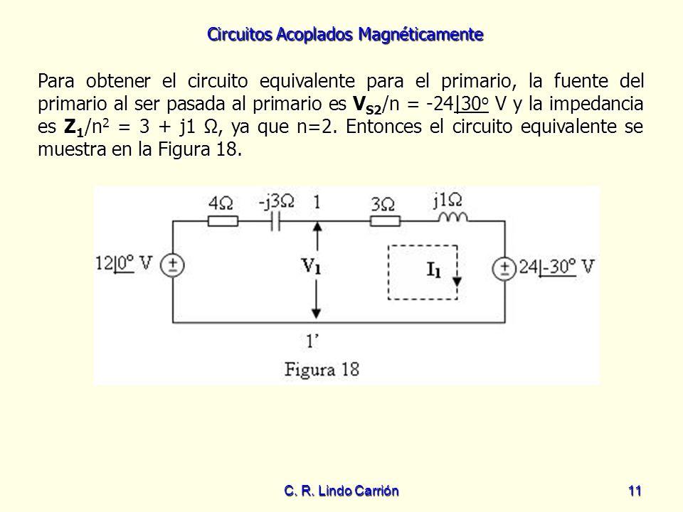 Circuitos Acoplados Magnéticamente C. R. Lindo Carrión11 Para obtener el circuito equivalente para el primario, la fuente del primario al ser pasada a