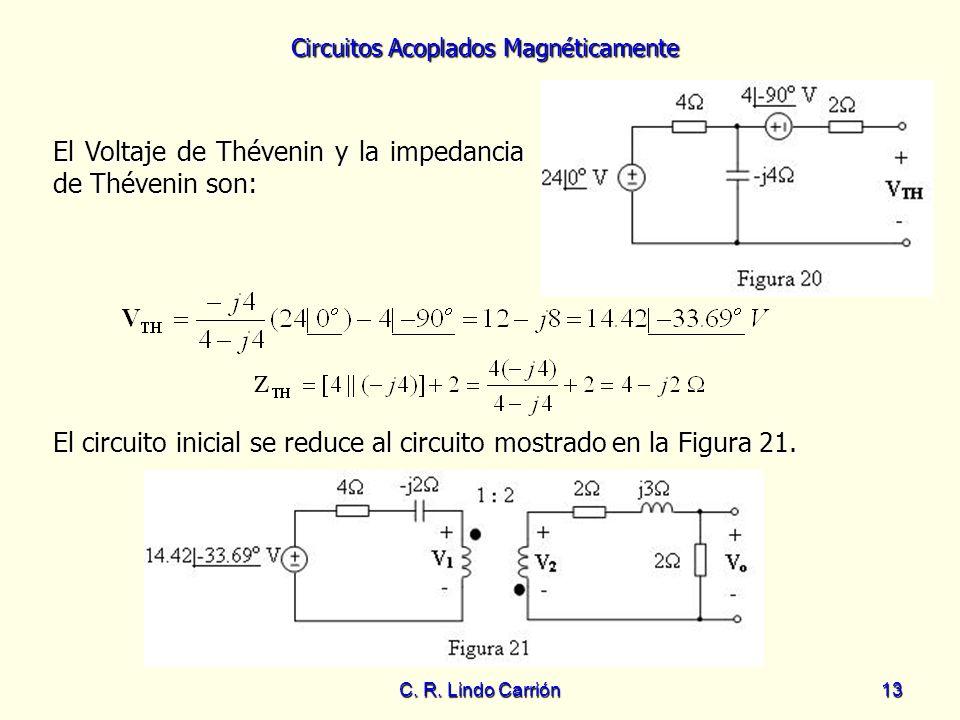 Circuitos Acoplados Magnéticamente C. R. Lindo Carrión13 El Voltaje de Thévenin y la impedancia de Thévenin son: El circuito inicial se reduce al circ