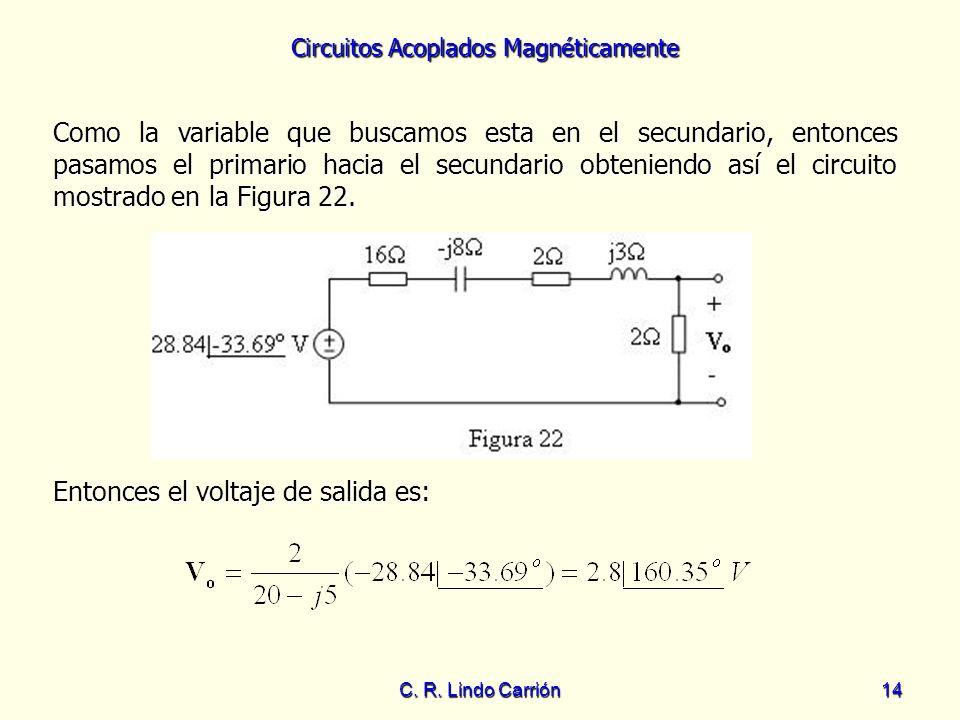 Circuitos Acoplados Magnéticamente C. R. Lindo Carrión14 Como la variable que buscamos esta en el secundario, entonces pasamos el primario hacia el se