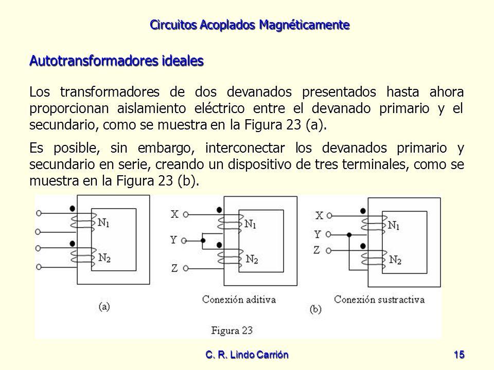 Circuitos Acoplados Magnéticamente C. R. Lindo Carrión15 Los transformadores de dos devanados presentados hasta ahora proporcionan aislamiento eléctri