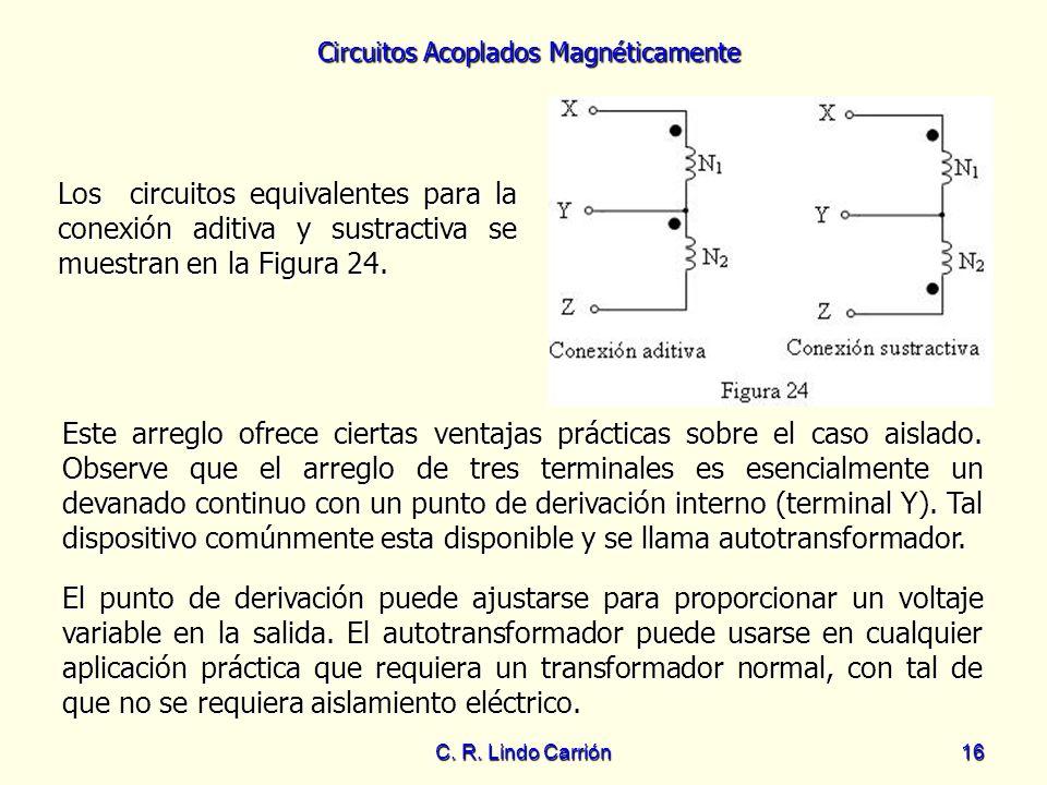 Circuitos Acoplados Magnéticamente C. R. Lindo Carrión16 Los circuitos equivalentes para la conexión aditiva y sustractiva se muestran en la Figura 24