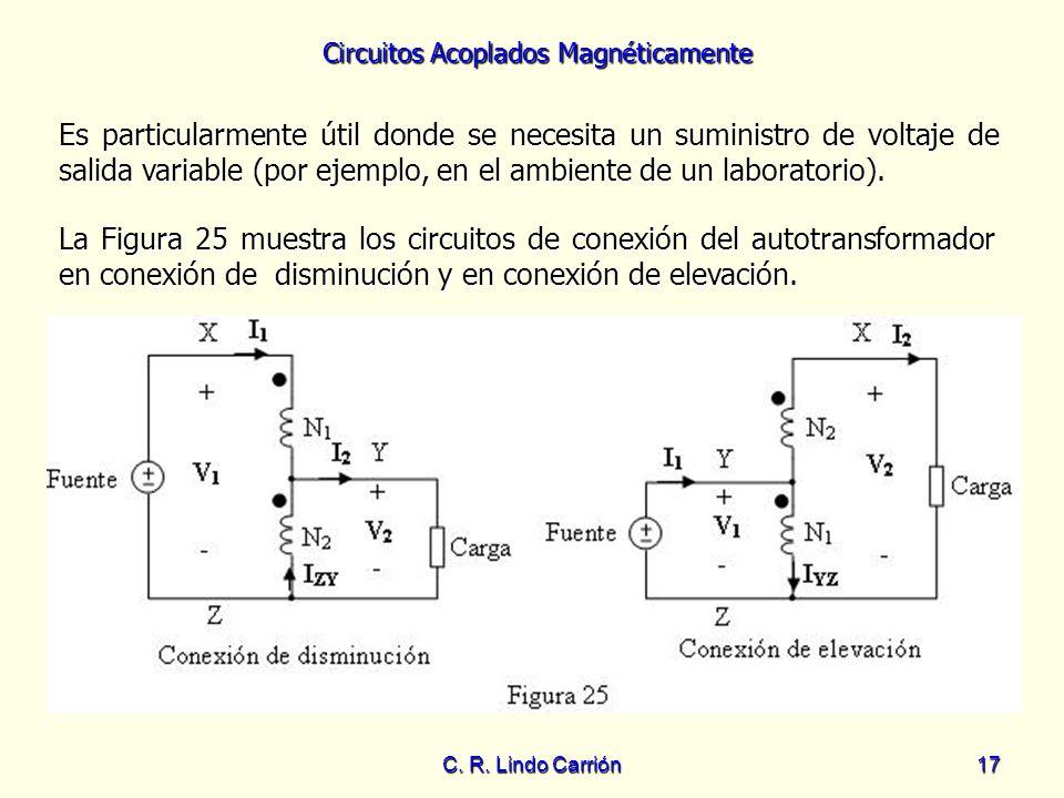 Circuitos Acoplados Magnéticamente C. R. Lindo Carrión17 Es particularmente útil donde se necesita un suministro de voltaje de salida variable (por ej