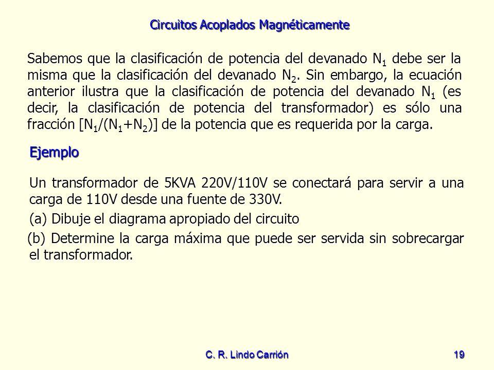 Circuitos Acoplados Magnéticamente C. R. Lindo Carrión19 Sabemos que la clasificación de potencia del devanado N 1 debe ser la misma que la clasificac