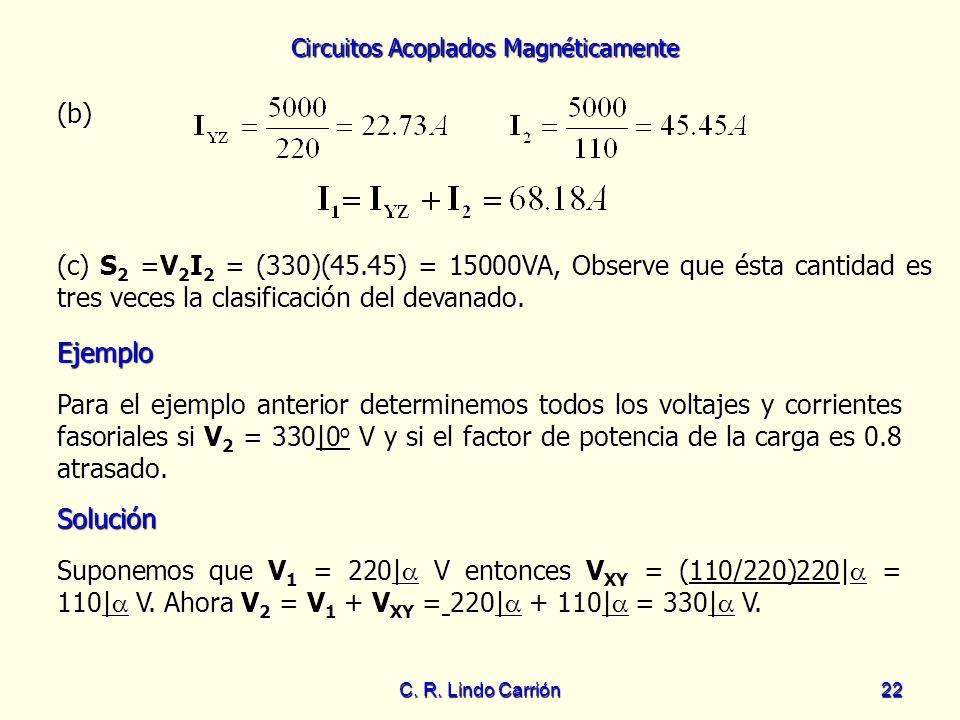 Circuitos Acoplados Magnéticamente C. R. Lindo Carrión22 (b) (c) S 2 =V 2 I 2 = (330)(45.45) = 15000VA, Observe que ésta cantidad es tres veces la cla