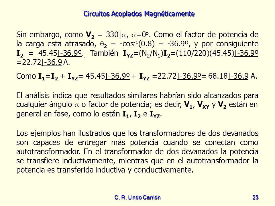 Circuitos Acoplados Magnéticamente C. R. Lindo Carrión23 Los ejemplos han ilustrados que los transformadores de dos devanados son capaces de entregar