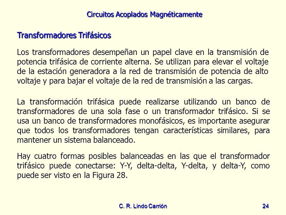 Circuitos Acoplados Magnéticamente C. R. Lindo Carrión24 Transformadores Trifásicos Los transformadores desempeñan un papel clave en la transmisión de