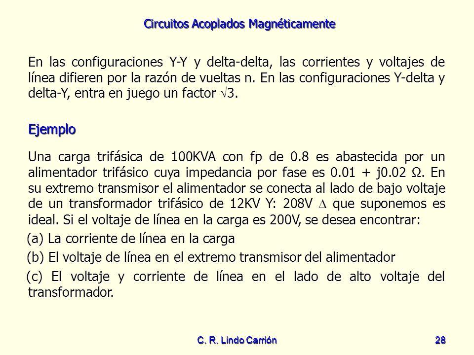 Circuitos Acoplados Magnéticamente C. R. Lindo Carrión28 En las configuraciones Y-Y y delta-delta, las corrientes y voltajes de línea difieren por la
