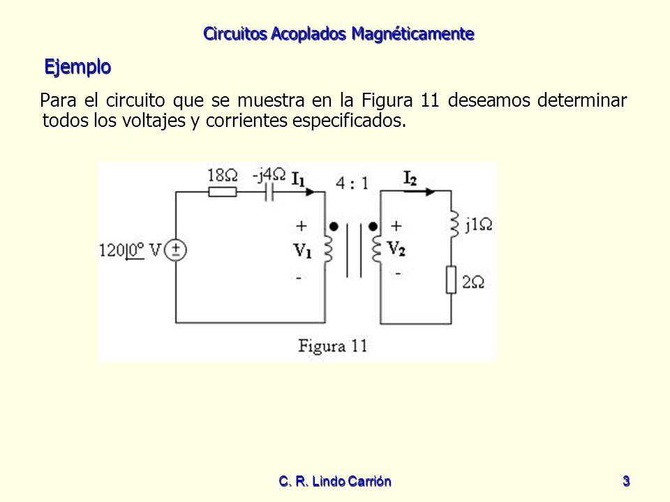 Circuitos Acoplados Magnéticamente C. R. Lindo Carrión3 Para el circuito que se muestra en la Figura 11 deseamos determinar todos los voltajes y corri