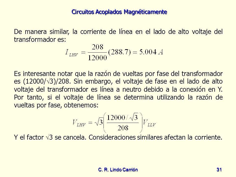 Circuitos Acoplados Magnéticamente C. R. Lindo Carrión31 De manera similar, la corriente de línea en el lado de alto voltaje del transformador es: Es