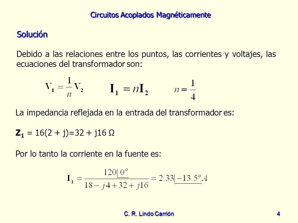 Circuitos Acoplados Magnéticamente C. R. Lindo Carrión4 Solución Solución Debido a las relaciones entre los puntos, las corrientes y voltajes, las ecu