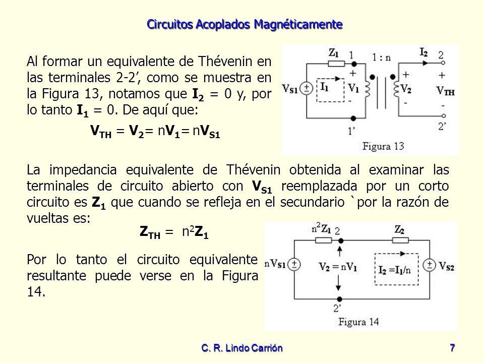 Circuitos Acoplados Magnéticamente C. R. Lindo Carrión7 Al formar un equivalente de Thévenin en las terminales 2-2, como se muestra en la Figura 13, n
