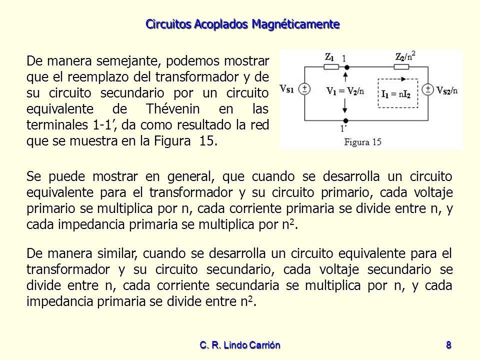 Circuitos Acoplados Magnéticamente C. R. Lindo Carrión8 De manera semejante, podemos mostrar que el reemplazo del transformador y de su circuito secun