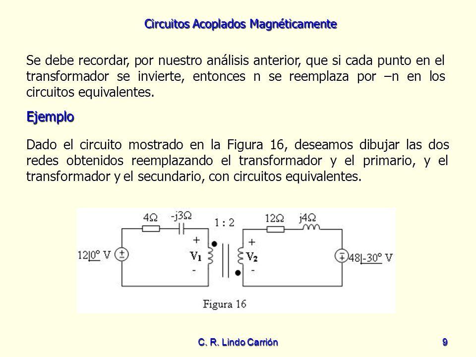 Circuitos Acoplados Magnéticamente C. R. Lindo Carrión9 Se debe recordar, por nuestro análisis anterior, que si cada punto en el transformador se invi