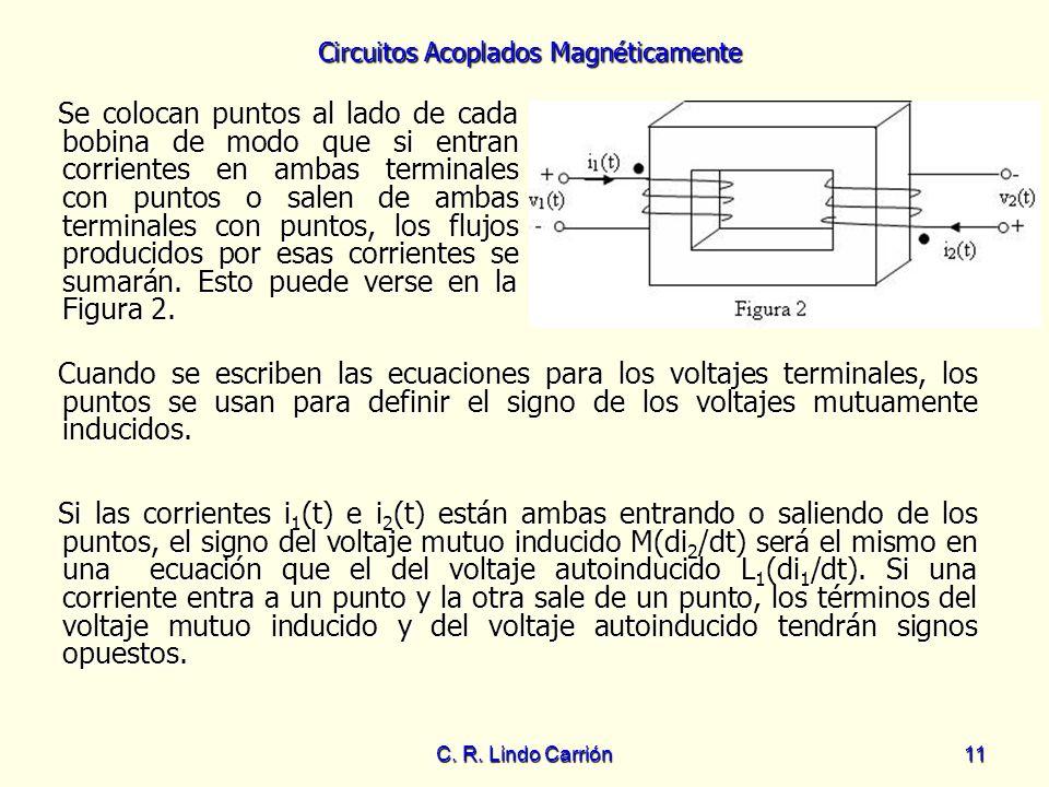 Circuitos Acoplados Magnéticamente C. R. Lindo Carrión11 Se colocan puntos al lado de cada bobina de modo que si entran corrientes en ambas terminales