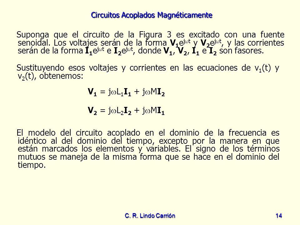 Circuitos Acoplados Magnéticamente C. R. Lindo Carrión14 Suponga que el circuito de la Figura 3 es excitado con una fuente senoidal. Los voltajes será