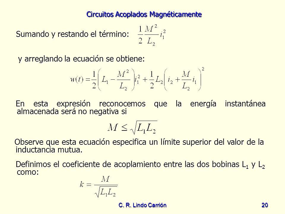 Circuitos Acoplados Magnéticamente C. R. Lindo Carrión20 Sumando y restando el término: Sumando y restando el término: En esta expresión reconocemos q