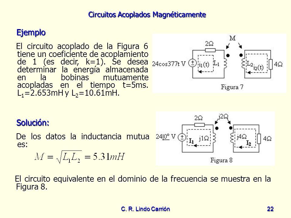 Circuitos Acoplados Magnéticamente C. R. Lindo Carrión22 Ejemplo Ejemplo El circuito acoplado de la Figura 6 tiene un coeficiente de acoplamiento de 1