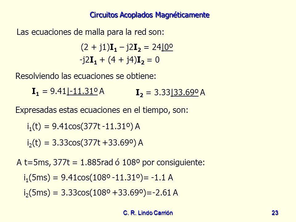 Circuitos Acoplados Magnéticamente C. R. Lindo Carrión23 Las ecuaciones de malla para la red son: Las ecuaciones de malla para la red son: (2 + j1)I 1