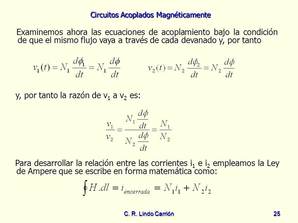 Circuitos Acoplados Magnéticamente C. R. Lindo Carrión25 Examinemos ahora las ecuaciones de acoplamiento bajo la condición de que el mismo flujo vaya