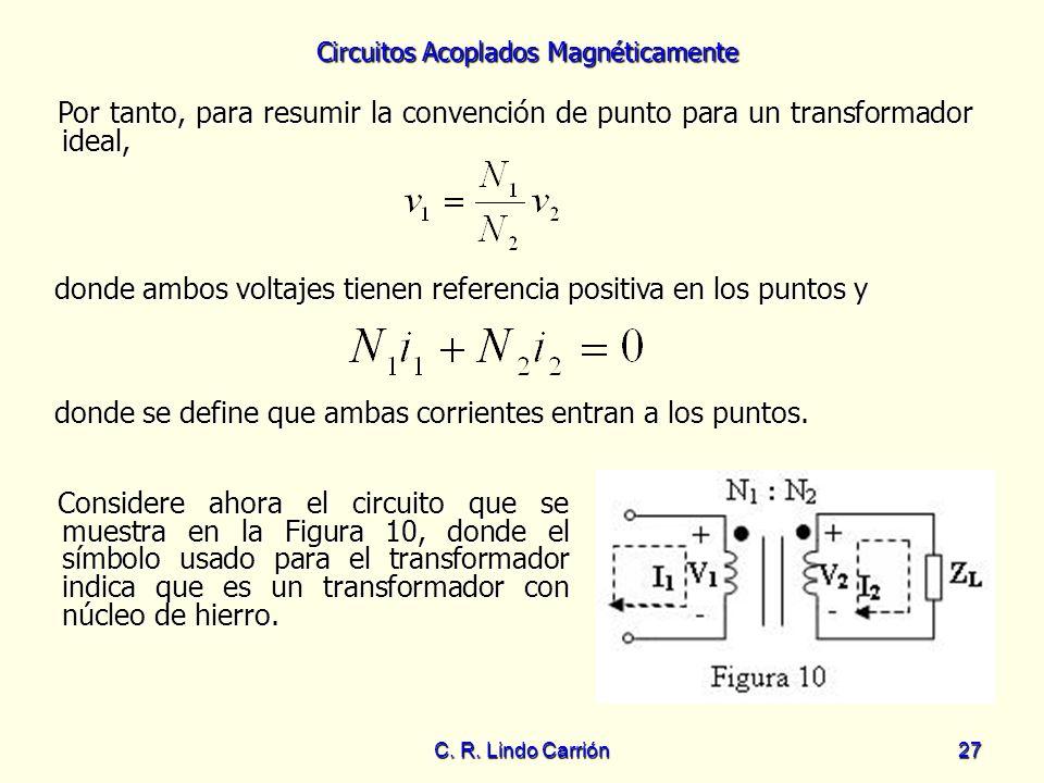 Circuitos Acoplados Magnéticamente C. R. Lindo Carrión27 Por tanto, para resumir la convención de punto para un transformador ideal, Por tanto, para r