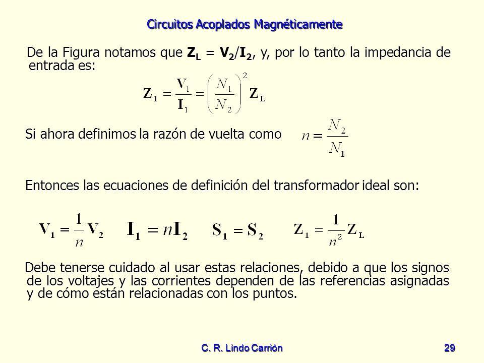 Circuitos Acoplados Magnéticamente C. R. Lindo Carrión29 De la Figura notamos que Z L = V 2 /I 2, y, por lo tanto la impedancia de entrada es: De la F