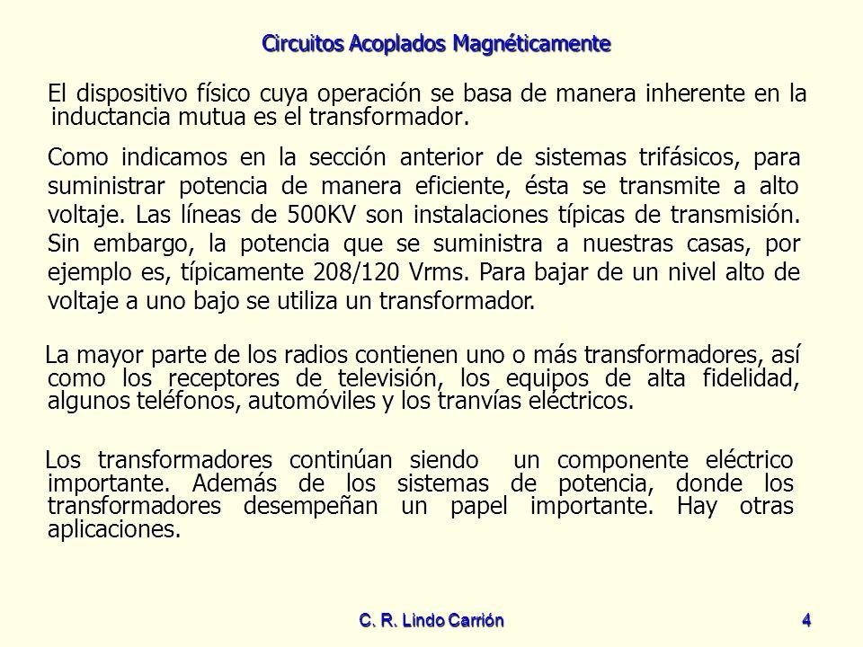 Circuitos Acoplados Magnéticamente C. R. Lindo Carrión4 El dispositivo físico cuya operación se basa de manera inherente en la inductancia mutua es el