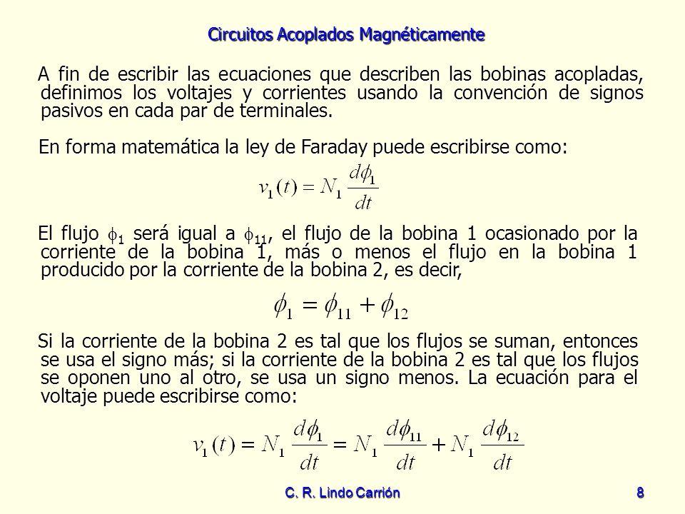 Circuitos Acoplados Magnéticamente C. R. Lindo Carrión8 A fin de escribir las ecuaciones que describen las bobinas acopladas, definimos los voltajes y