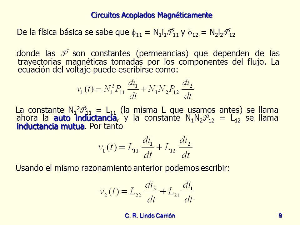 Circuitos Acoplados Magnéticamente C. R. Lindo Carrión9 De la física básica se sabe que 11 = N 1 i 1 P 11 y 12 = N 2 i 2 P 12 De la física básica se s