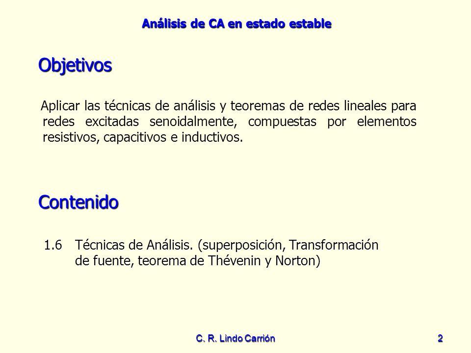 Análisis de CA en estado estable C. R. Lindo Carrión2 Objetivos Aplicar las técnicas de análisis y teoremas de redes lineales para redes excitadas sen