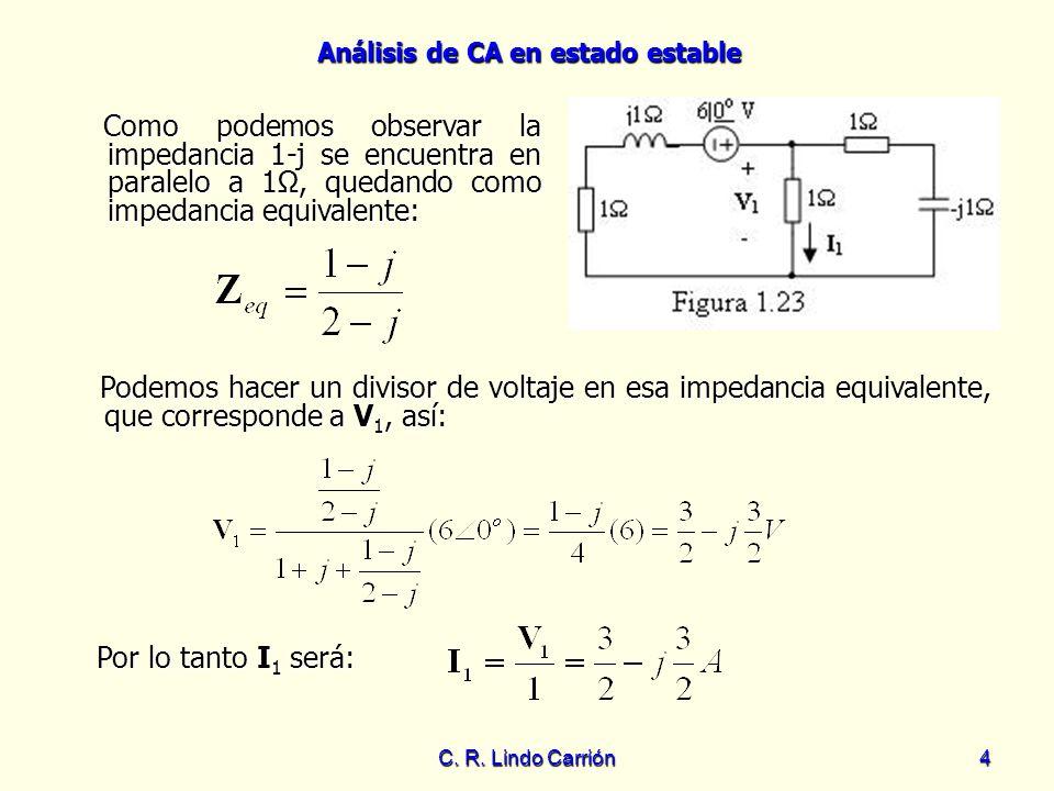 Análisis de CA en estado estable C. R. Lindo Carrión4 Como podemos observar la impedancia 1-j se encuentra en paralelo a 1Ω, quedando como impedancia