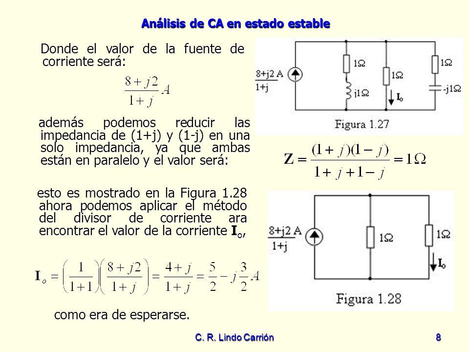 Análisis de CA en estado estable C. R. Lindo Carrión8 Donde el valor de la fuente de corriente será: Donde el valor de la fuente de corriente será: ad