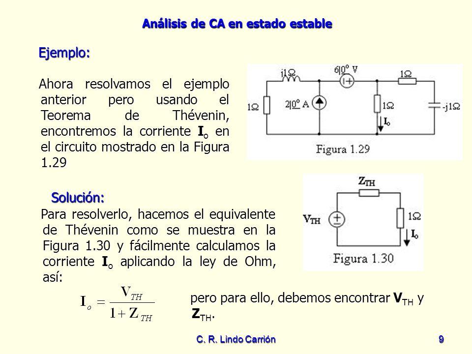 Análisis de CA en estado estable C. R. Lindo Carrión9 Ejemplo: Ahora resolvamos el ejemplo anterior pero usando el Teorema de Thévenin, encontremos la