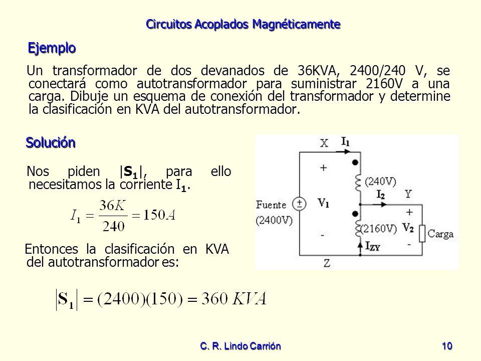 Circuitos Acoplados Magnéticamente C. R. Lindo Carrión10 Un transformador de dos devanados de 36KVA, 2400/240 V, se conectará como autotransformador p
