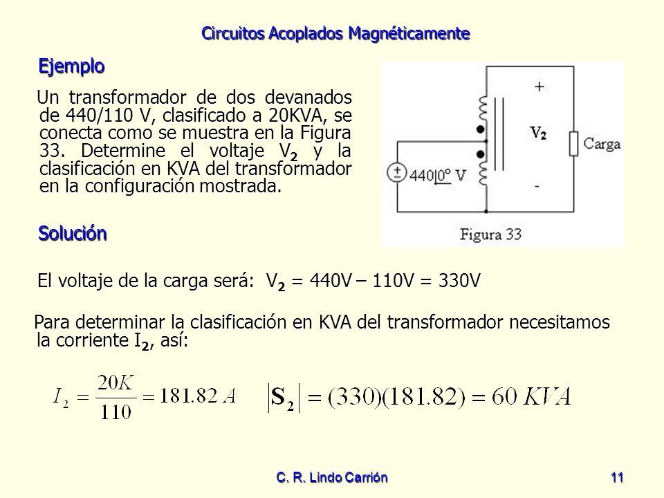 Circuitos Acoplados Magnéticamente C. R. Lindo Carrión11 Un transformador de dos devanados de 440/110 V, clasificado a 20KVA, se conecta como se muest