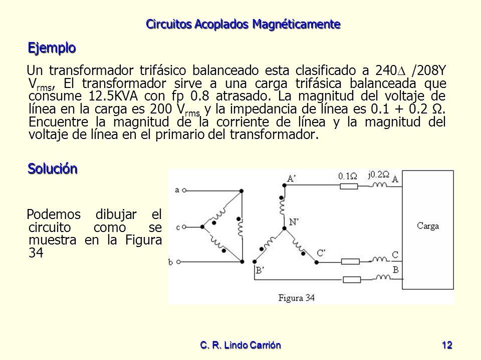 Circuitos Acoplados Magnéticamente C. R. Lindo Carrión12 Un transformador trifásico balanceado esta clasificado a 240 /208Y V rms, El transformador si