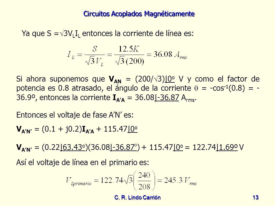 Circuitos Acoplados Magnéticamente C. R. Lindo Carrión13 Ya que S = 3V L I L entonces la corriente de línea es: Si ahora suponemos que V AN = (200/ 3)
