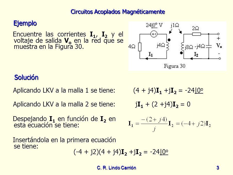 Circuitos Acoplados Magnéticamente C. R. Lindo Carrión3 Encuentre las corrientes I 1, I 2 y el voltaje de salida V o en la red que se muestra en la Fi