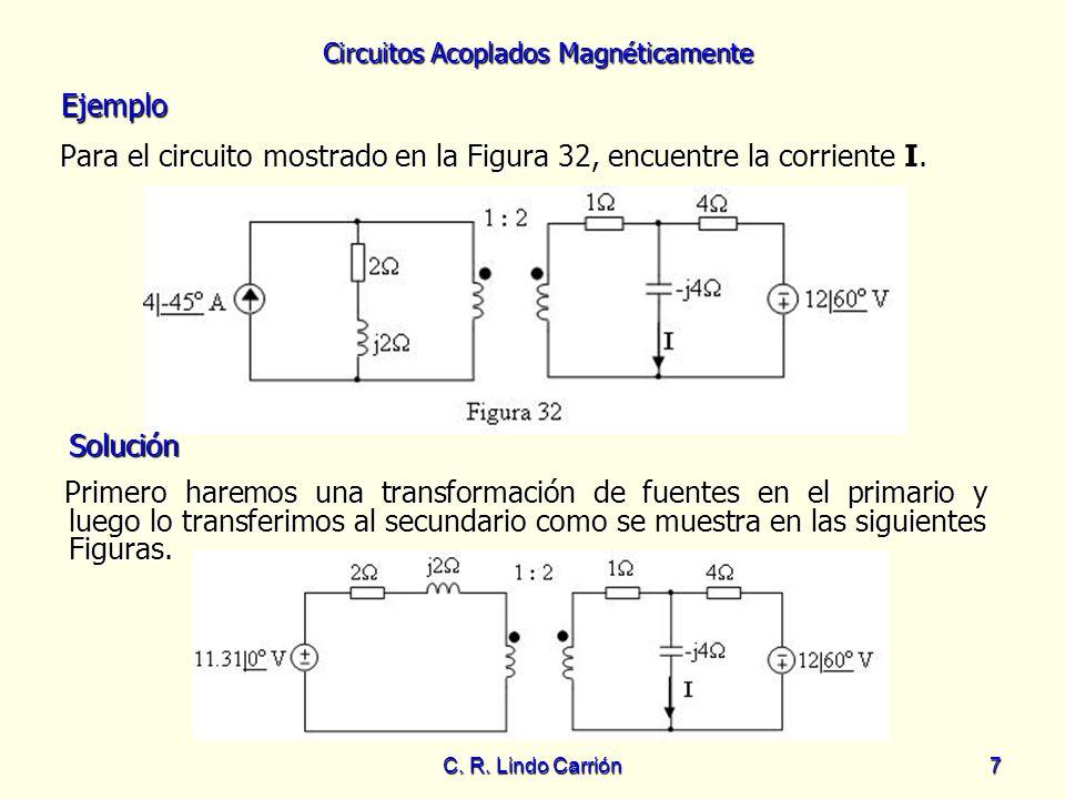Circuitos Acoplados Magnéticamente C. R. Lindo Carrión7 Para el circuito mostrado en la Figura 32, encuentre la corriente I. Para el circuito mostrado