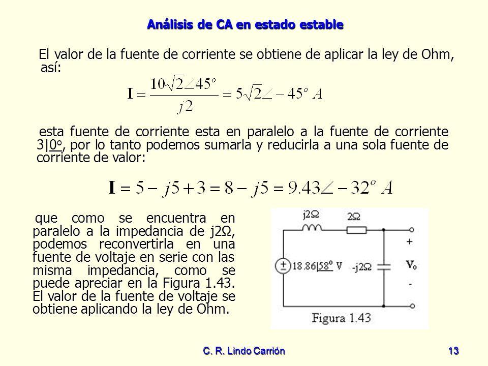 Análisis de CA en estado estable C. R. Lindo Carrión13 El valor de la fuente de corriente se obtiene de aplicar la ley de Ohm, así: El valor de la fue