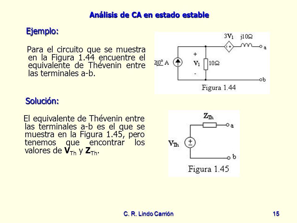 Análisis de CA en estado estable C. R. Lindo Carrión15 Para el circuito que se muestra en la Figura 1.44 encuentre el equivalente de Thévenin entre la