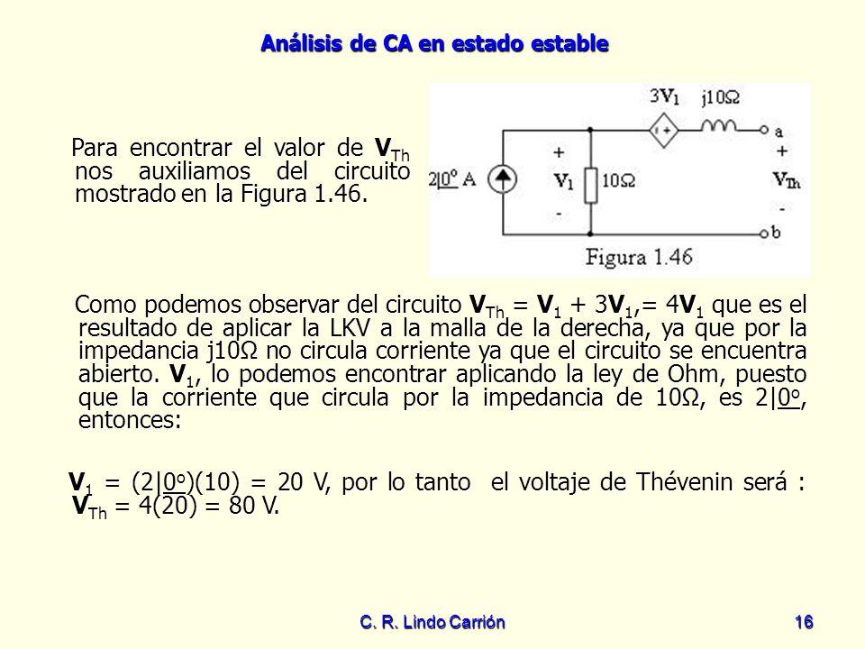 Análisis de CA en estado estable C. R. Lindo Carrión16 Para encontrar el valor de V Th nos auxiliamos del circuito mostrado en la Figura 1.46. Para en
