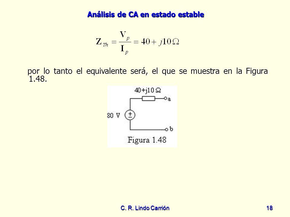 Análisis de CA en estado estable C. R. Lindo Carrión18 por lo tanto el equivalente será, el que se muestra en la Figura 1.48. por lo tanto el equivale