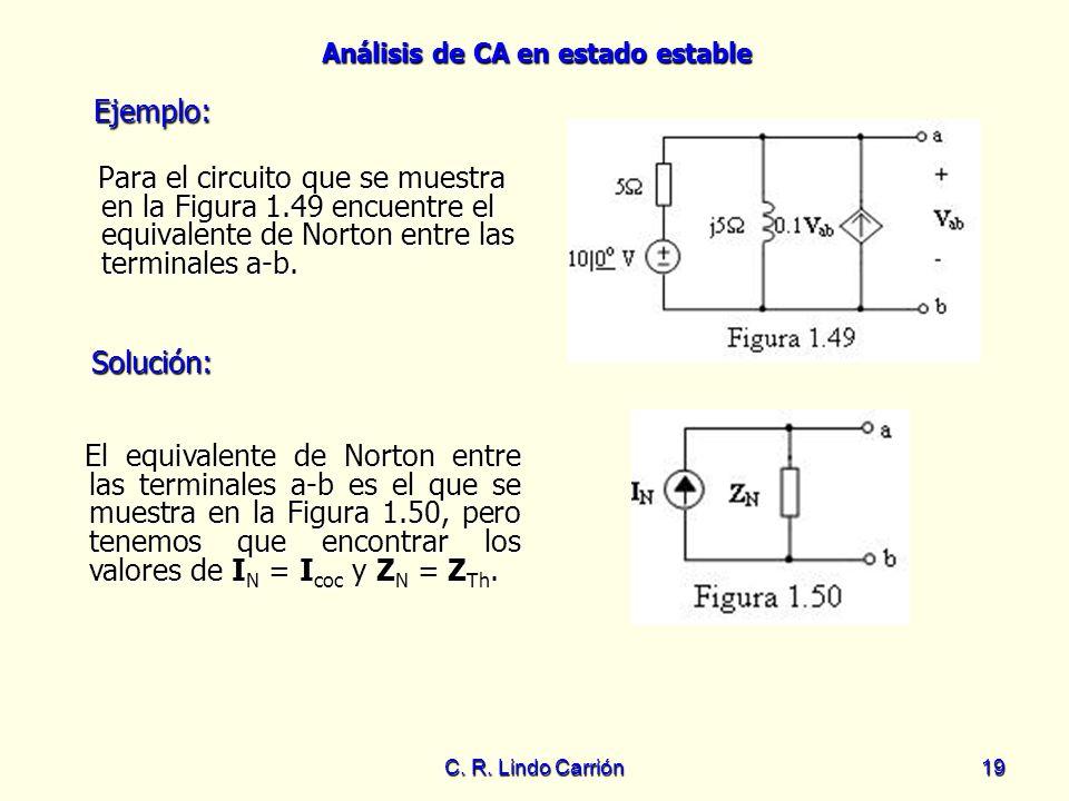 Análisis de CA en estado estable C. R. Lindo Carrión19 Para el circuito que se muestra en la Figura 1.49 encuentre el equivalente de Norton entre las