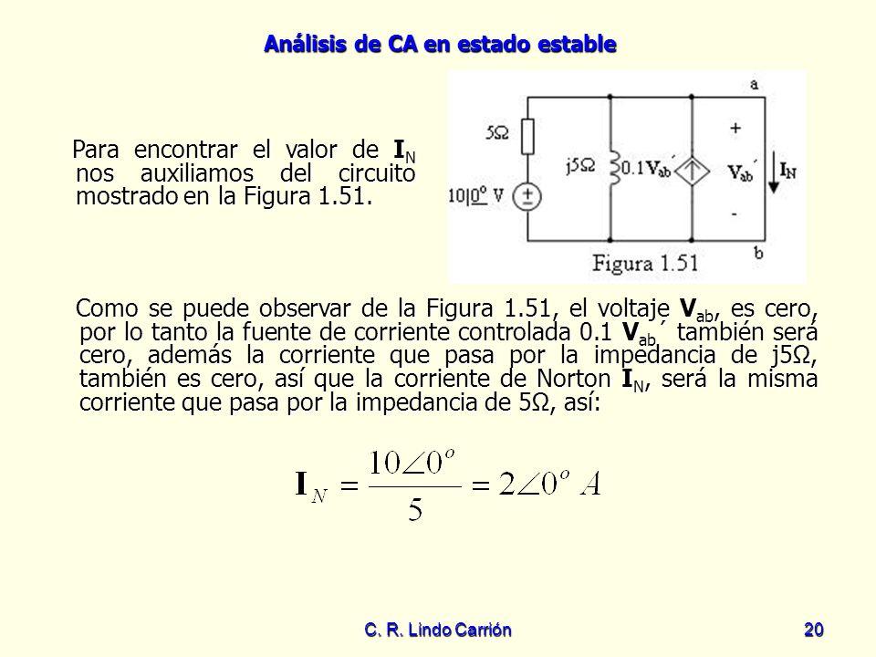 Análisis de CA en estado estable C. R. Lindo Carrión20 Para encontrar el valor de I N nos auxiliamos del circuito mostrado en la Figura 1.51. Para enc