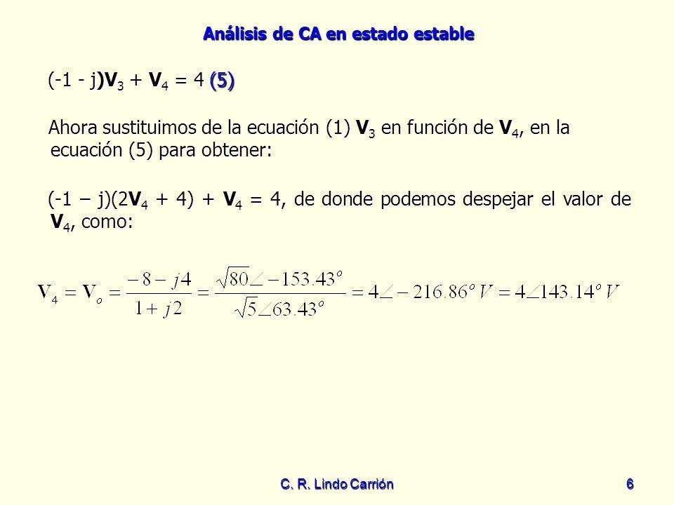 Análisis de CA en estado estable C. R. Lindo Carrión6 Ahora sustituimos de la ecuación (1) V 3 en función de V 4, en la ecuación (5) para obtener: Aho